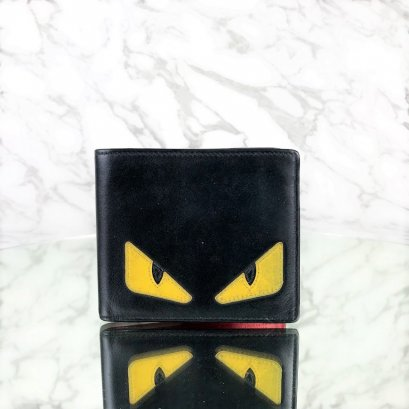 MP-10440 Used Fendi Monster Wallet Black/Yellow Leather
