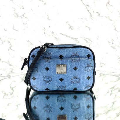 MP-10535 Used MCM Camera Bag In Blue Visetos SHW