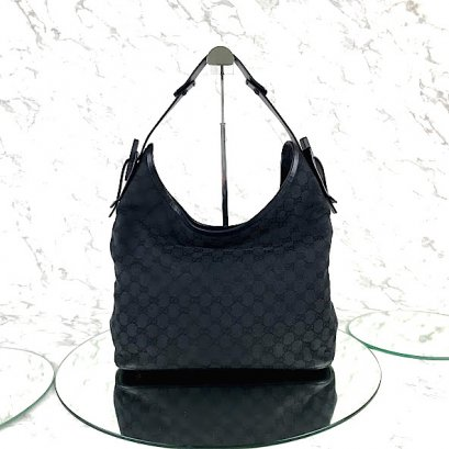 MP-10533 Used Gucci Shoulder Bag GG Black Canvas Shw