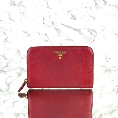 MP-10534 Used Prada Zippy Medium Wallet In Fuoco Saffiano GHW