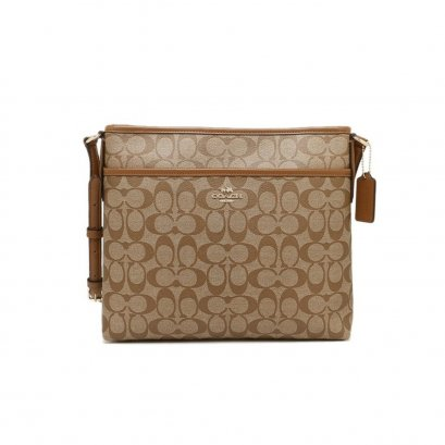 New Coach File CrossbodyBag in Saddle Canvas GHW