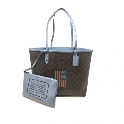 New Coach Reversible Tote In Brown/Blue With American Flag SHW