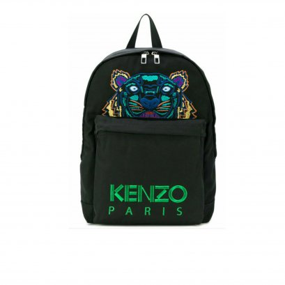 New Kenzo Tiger Backpack in Black Canvas