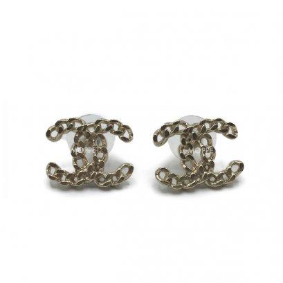 New Chanel CC Earrings 1.5 CM in Chain GHW