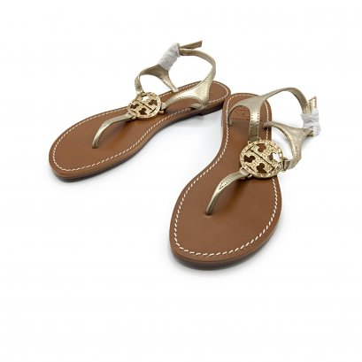 """New Tory Burch Sandals 6"""" in Brown/Gold GHW"""