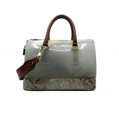 Used Furla Candy Handbag in Green Jelly/Python GHW