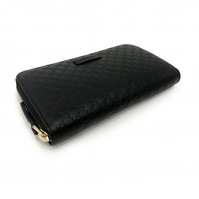 New Gucci GG Zippy Wallet in Black Leather GHW