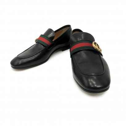 """New Gucci Revolt Logo Loafers 6"""" in Black Leather"""
