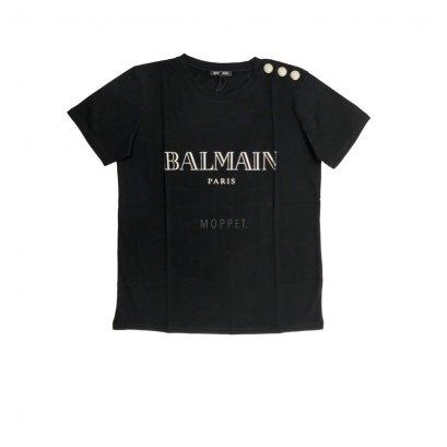 New Balmain T - Shirt in Black Silver screen