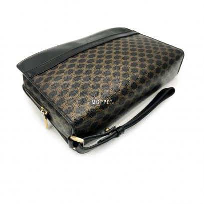 Used Celine Clutch Bag in Macadam Black RHW