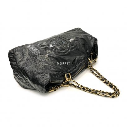 """Used Chanel Carry Bag 45"""" in Black Patent GHW"""
