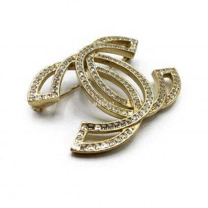 New Chanel CC Brooch 5 CM in Crystal GHW