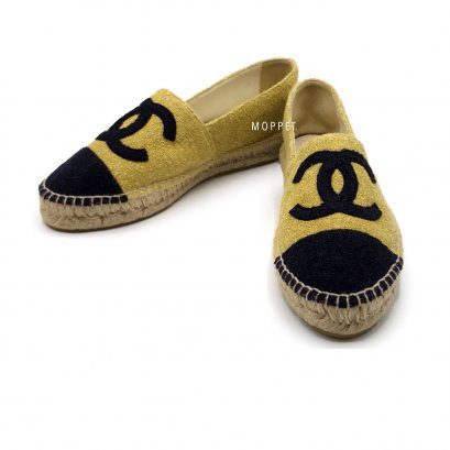 New Chanel Espadrilles 38 in Gold/Black