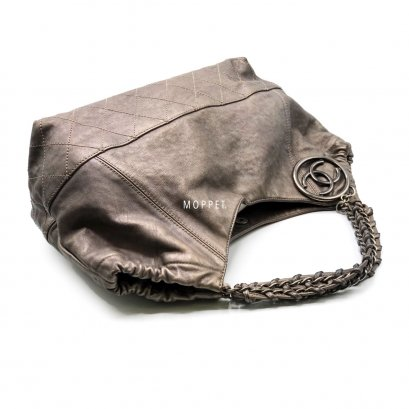 Used Chanel Shoulder Bag in Grey Metallic Calfskin RHW