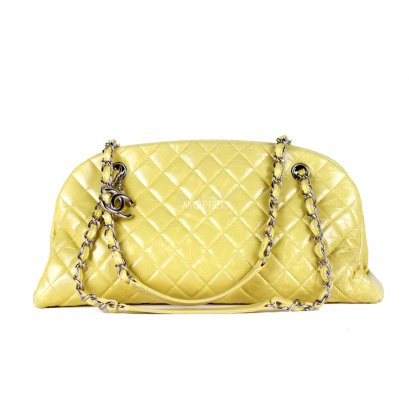 Used Chanel Madmoiselle Bowling Bag in Yellow Calfskin SHW