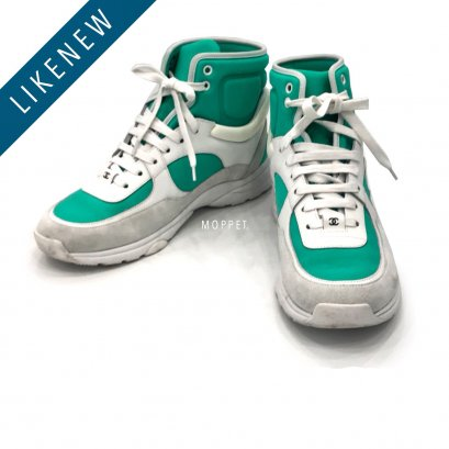 "Like New Chanel High Top 40"" in White/Green Leather"