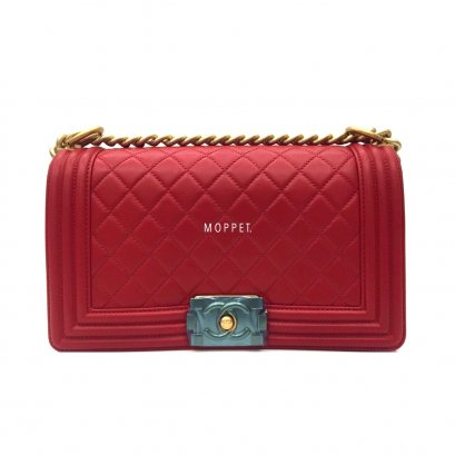 "Unused Chanel Boy 10"" in Red Lamb GHW"