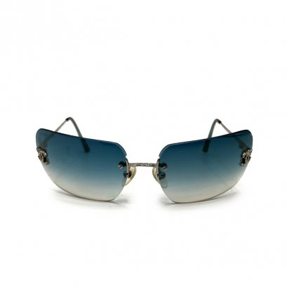 Used Chanel CC Sunglasses in Green Lens SHW