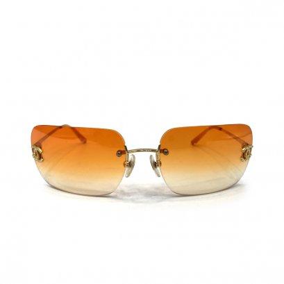 Used Chanel CC Sunglasses in Orange Lens GHW