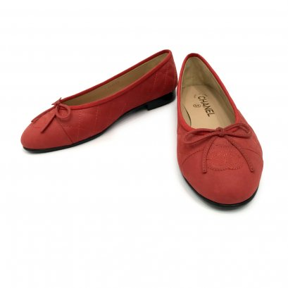 New Chanel Flat Shoes 37 in Red Fabric