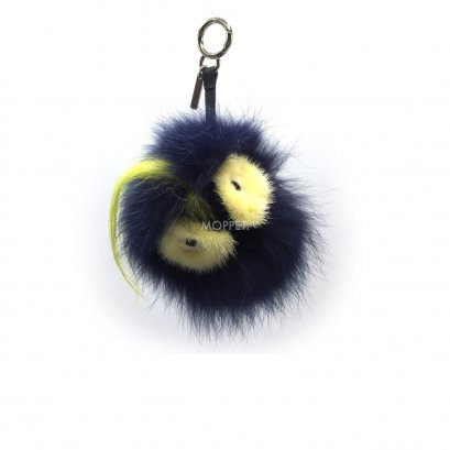 New Fendi Bag Bug Charm in Blue/Yellow Fur SHW