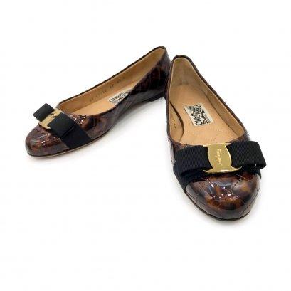 "Used Ferragamo Varina Shoes 6.5"" in Tan Patent GHW"