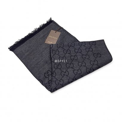 New Gucci Scarf in Grey/Black Cotton