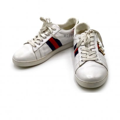 """Used Gucci Sneakers 38"""" in White Leather GHW"""