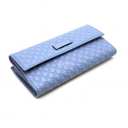 New Gucci GG Continental Long Wallet in Blue Leather GHW