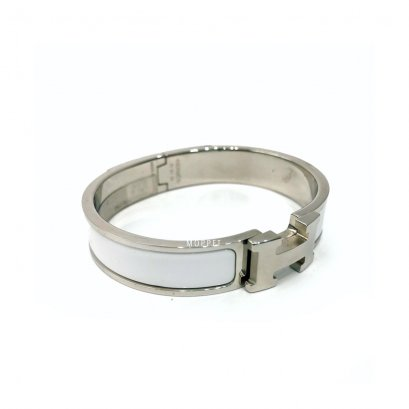 Used Hermes Clic Clac Bracelet PM Size S in White PHW