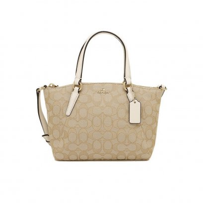 New Coach Mini Kelsey Satchel in Signature Chalk GHW