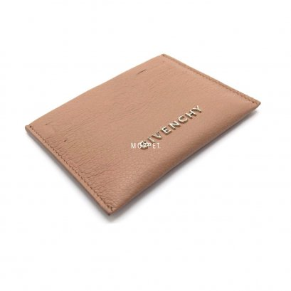 New Givenchy Card Holder in Beige Leather SHW