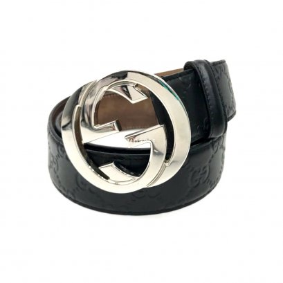 "Used Gucci Leather Belt 85"" in Black Leather SHW"