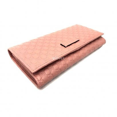 New Gucci GG Long Wallet in Pink Leather GHW