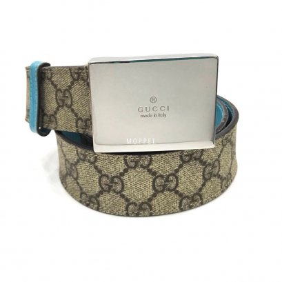 "Used Gucci Belt 80"" in Signature/Blue SHW"