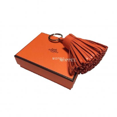 NEW Hermes Pompom in Orange Leather PHW