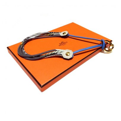 NEW Hermes Necklace in Silk/Blue GHW