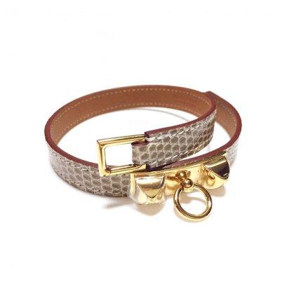 NEW Hermes Double Tour Bracelet XS in Lizard Etoupe GHW