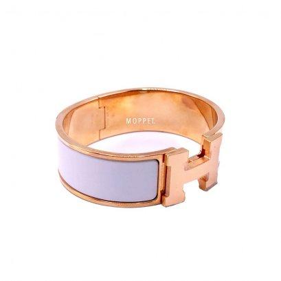 NEW Hermes Clic Clac Bracelet Size S in White GHW