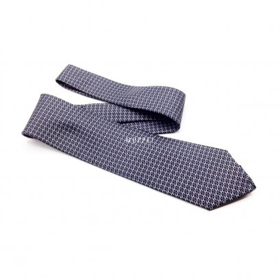New Hermes Necktie in Grey/Blue