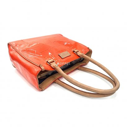 Used Kate Spade Tote bag in Orange Patent Leather GHW