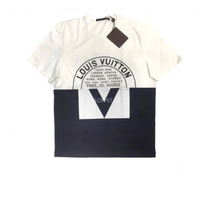 "New LV Printed T-Shirt Size M"" in Black/White Cotton"