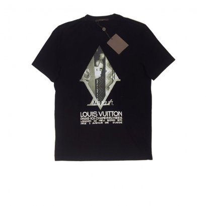 "New LV Printed T-Shirt Size M"" in Black Cotton"
