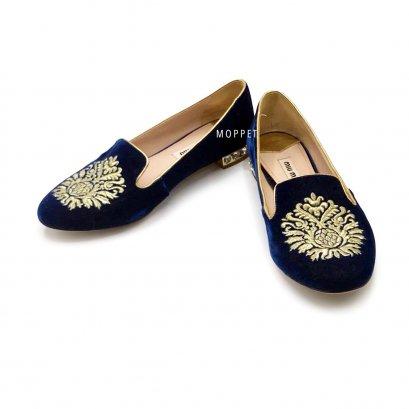 "Like New Miu Miu Flat Shoes 35"" in Blue Velvet GHW"