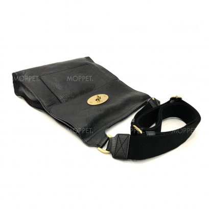 New Mulberry Antony Messenger Bag in Black Leather GHW