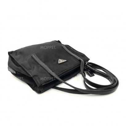 Used Prada Tessuto ShoulderBag in Black Nylon SHW