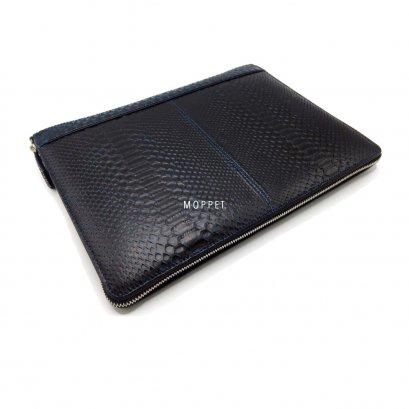 New S.V. Homme Laptop Case in Black/Blue Snakeskin SHW
