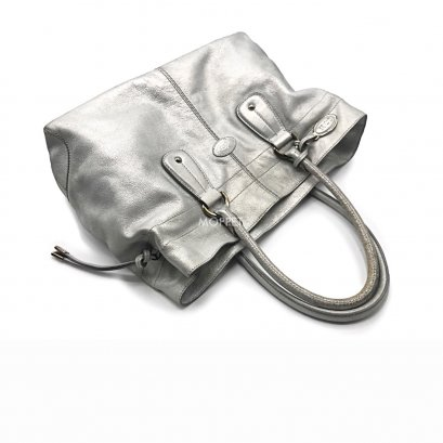 Used TOD'S Totebag in Silver Leather SHW