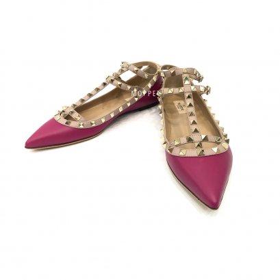 "New Valentino Rockstud Flats 40"" in Purple Leather LGHW"