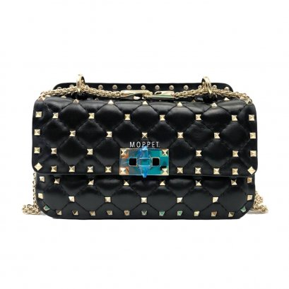 New Valentino Rockstud Spike Bag Small in Black Leather LGHW